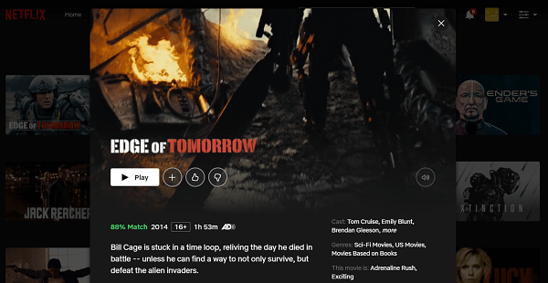 Watch Edge of Tomorrow (2014) on Netflix 3