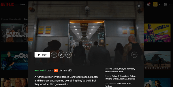 Watch Fast & Furious 8 (2017) on Netflix 3
