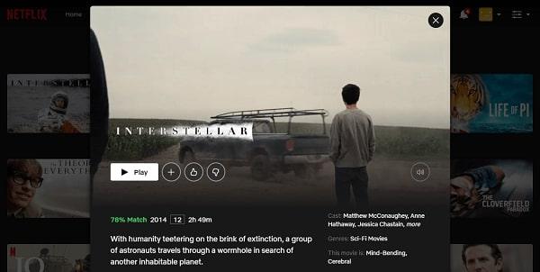 Watch Interstellar (2014) on Netflix 3