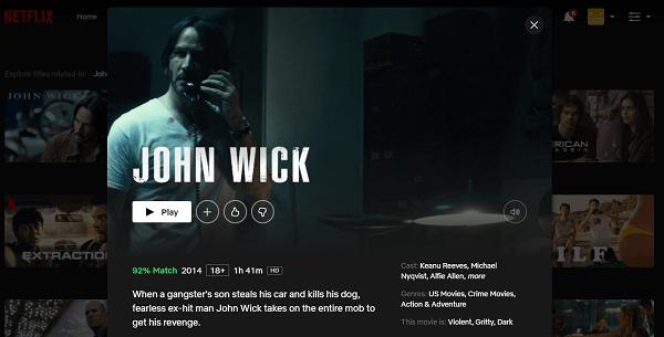 Watch John Wick (2014) on Netflix 3