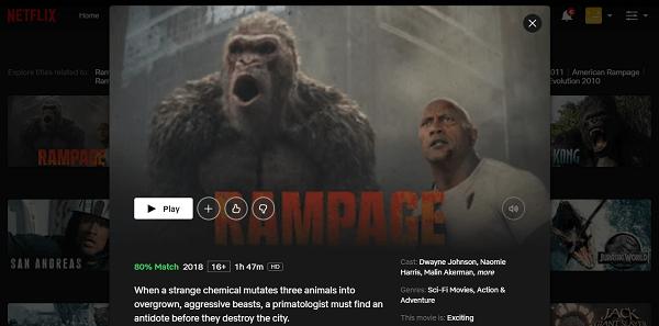 Watch Rampage (2018) on Netflix 3