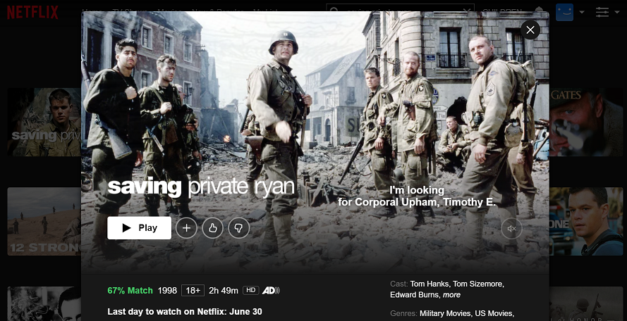 Watch Saving Private Ryan (1999) on Netflix 3