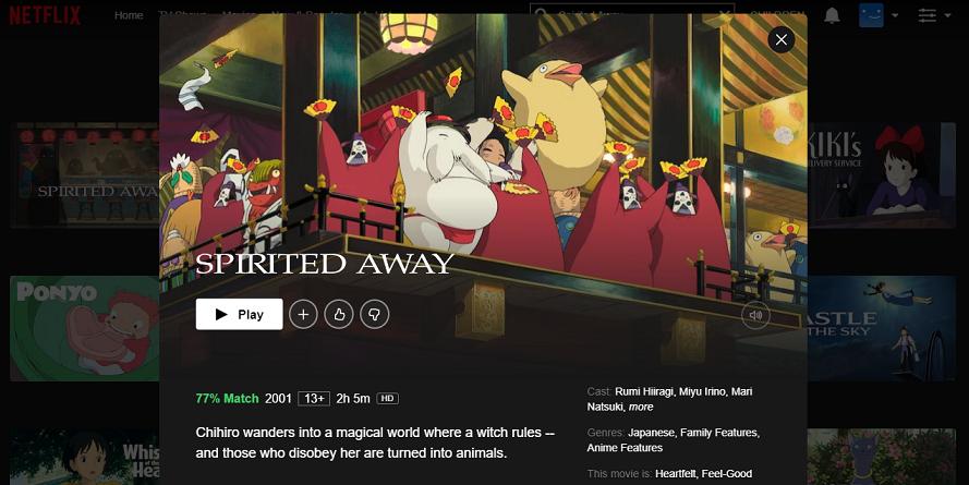 Watch Spirited Away (2001) on Netflix 3