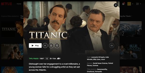 Watch Titanic (1997) on Netflix 3