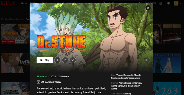 Watch Dr. Stone on NetFlix 3