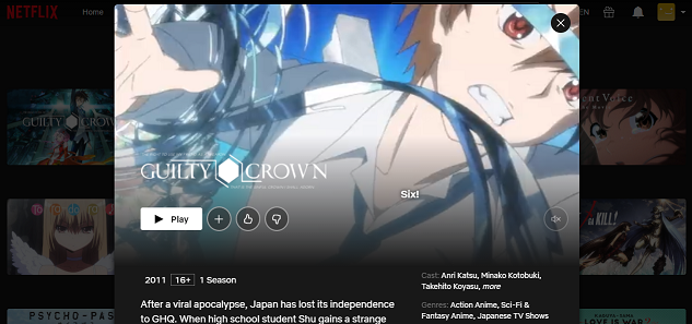 Watch Guilty Crown all Episodes on Netflix 3