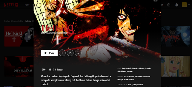Watch Hellsing all Episodes on Netflix 3