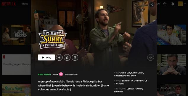 Watch It's Always Sunny in Philadelphia on NetFlix 3