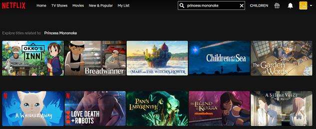 Watch Princess Mononoke on NetFlix 1