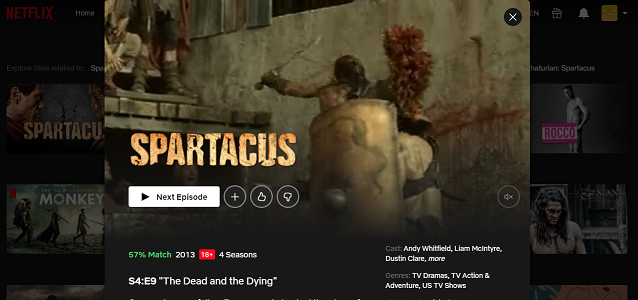 Watch Spartacus all 4 Seasons on Netflix 3
