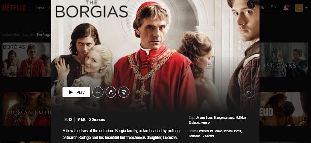 Watch The Borgias all 3 Seasons on NetFlix 3