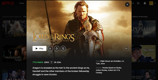 Watch The Lord of the Rings - The Return of the King on Netflix 3