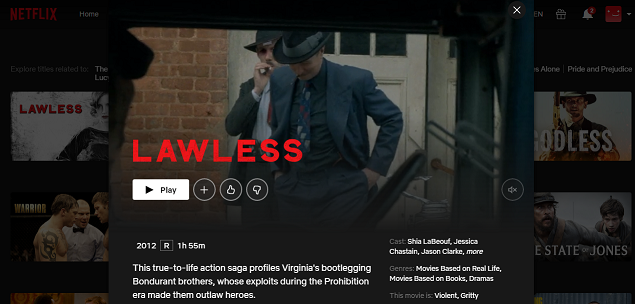 How to watch Lawless (2012) on Netflix 3