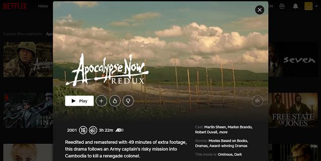 Watch Apocalypse Now Redux (2001) on Netflix 3