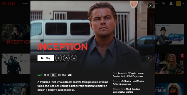 Watch Inception (2010) on Netflix 3