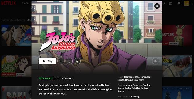 Watch JoJo's Bizarre Adventure on Netflix 3