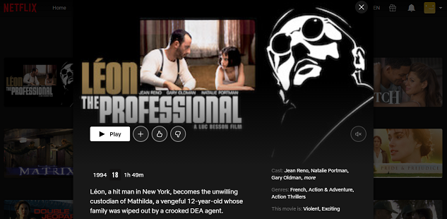 Watch Leon - The Professional (1994) on Netflix 3