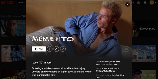 Watch Memento (2000) on Netflix 3