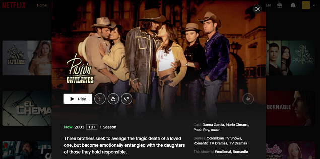 Watch Pasión de Gavilanes all episodes on Netflix 3