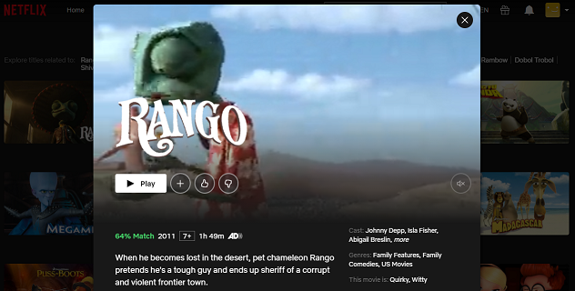Watch Rango (2011) on Netflix 3