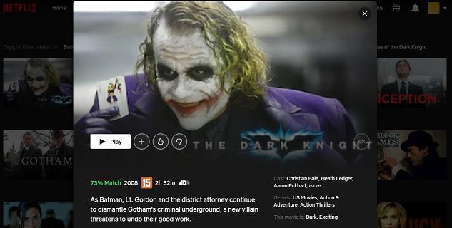 Watch The Dark Knight (2008) on Netflix 3