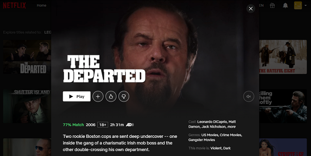Watch The Departed (2006) on Netflix 3