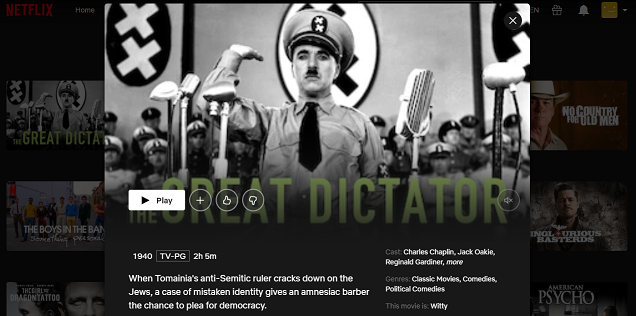 Watch The Great Dictator (1940) on Netflix 3