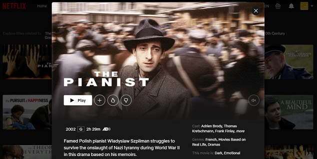 Watch The Pianist (2002) on Netflix 3