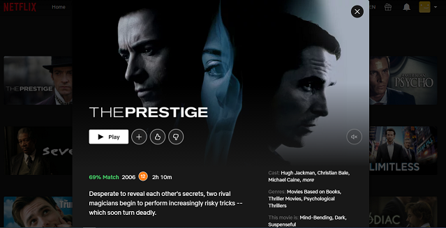 Watch The Prestige (2006) on Netflix 3