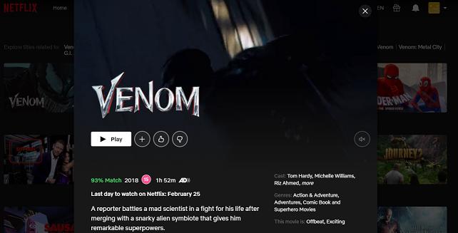 Watch Venom (2018) on Netflix 3