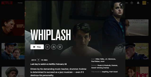 Watch Whiplash (2014) on Netflix 3