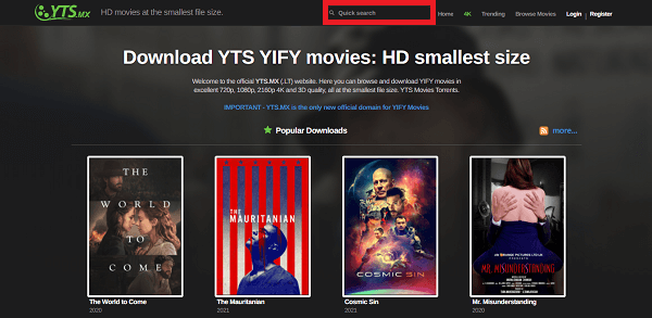 Download Torrents From YTS 1