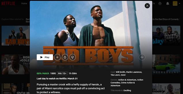 Watch Bad Boys (1995) on Netflix 3