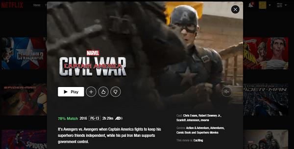 Watch Captain America - Civil War (2016) on Netflix 3