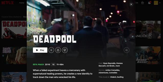 Watch Deadpool (2016) on Netflix 3