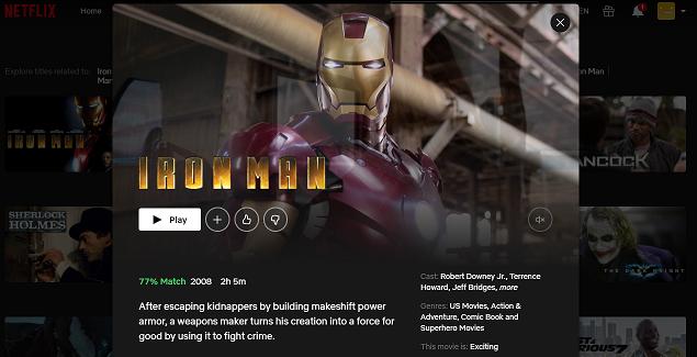 Watch Iron Man (2008) on Netflix 3
