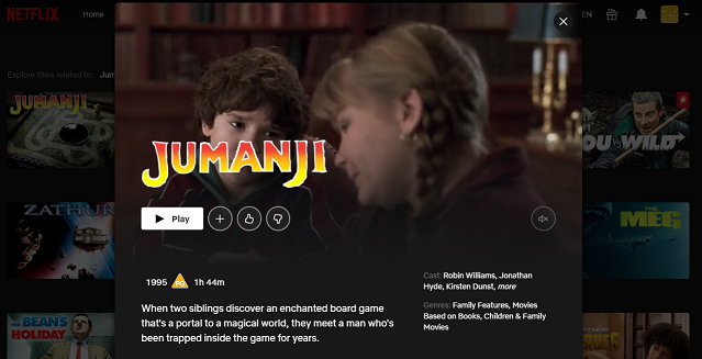 Watch Jumanji (1995) on Netflix 3