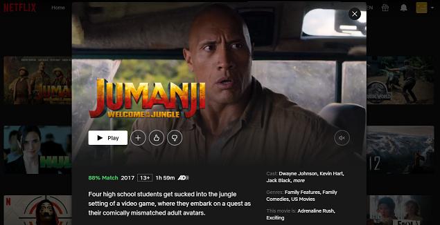 Watch Jumanji - Welcome to the Jungle (2017) on Netflix 3
