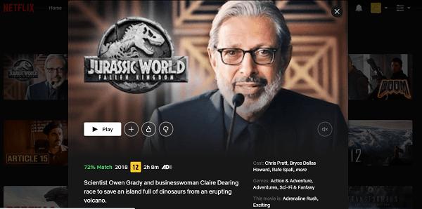 Watch Jurassic World - Fallen Kingdom (2018) on Netflix 3