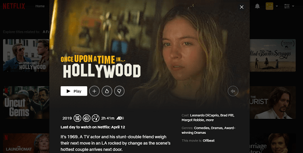 Watch Once Upon a Time in Hollywood (2019) on Netflix 3