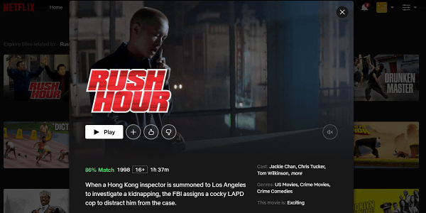 Watch Rush Hour (1998) on Netflix 3