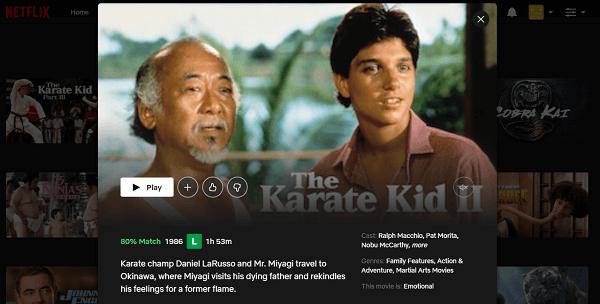 Watch The Karate Kid Part II (1986) on Netflix 3