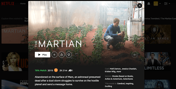 Watch The Martian (2015) on Netflix 3