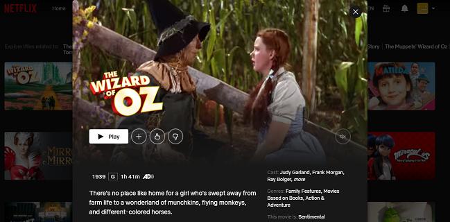 Watch The Wizard of Oz (1939) on Netflix 3