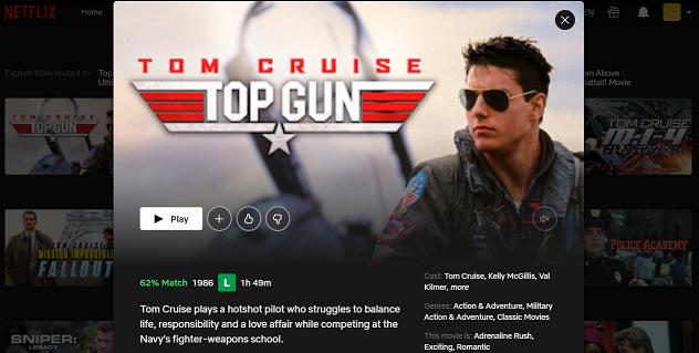 Watch Top Gun (1986) on Netflix 3
