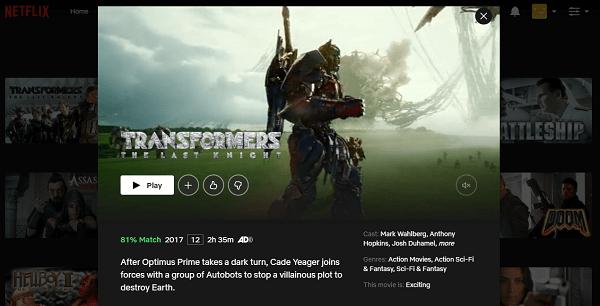 Watch Transformers - The Last Knight (2017) on Netflix 3