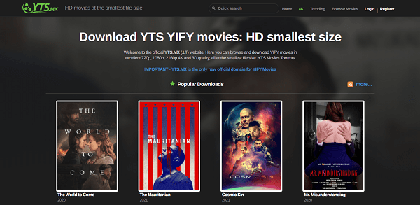 YTS official website