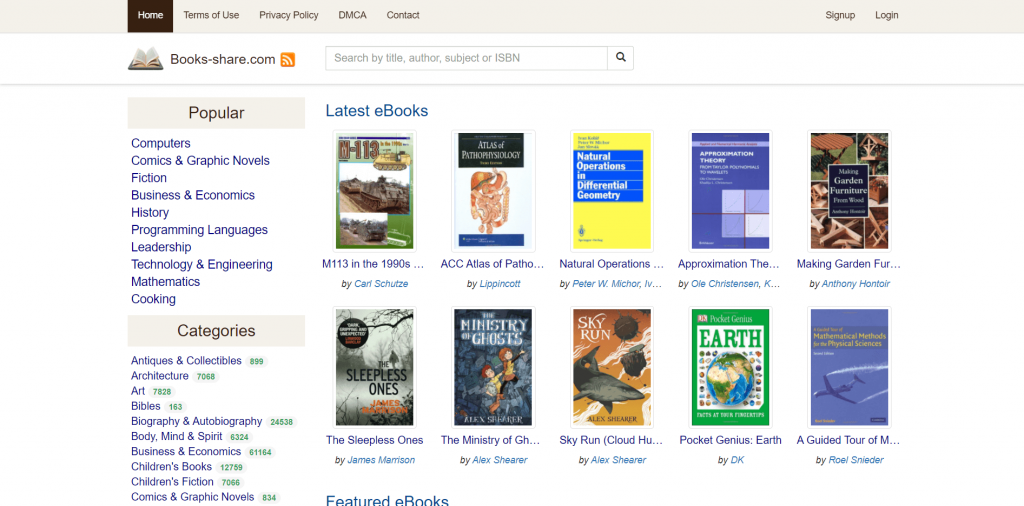 Book Share Torrent site for eBooks