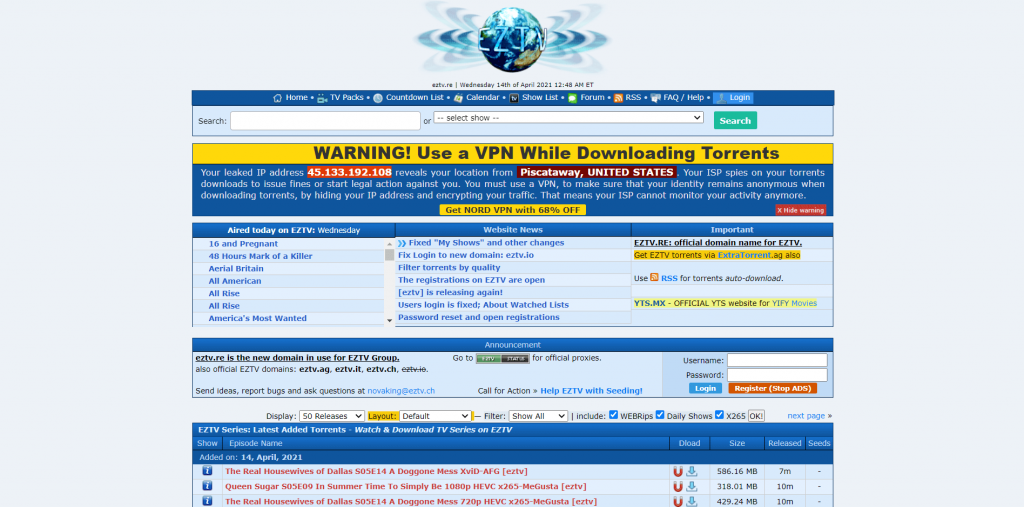 EZTV Torrent Site for Movies & TV Shows