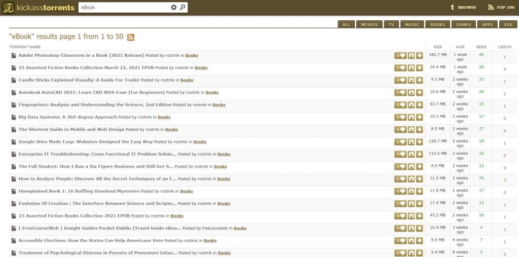 Kickass Torrent site for eBooks